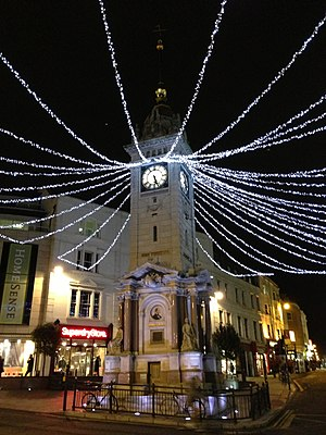 Clock Tower, Brighton - The Clock Tower, lit up for the festive season.