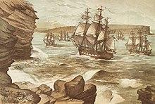 d7fec14ad93e26 The First Fleet entering Port Jackson on 26 January 1788 by Edmund Le Bihan