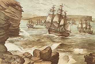 First Fleet - The First Fleet entering Port Jackson on 26 January 1788 by Edmund Le Bihan