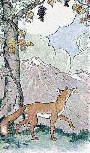 The Fox and the Grapes - An illustration by Milo Winter in 1919.