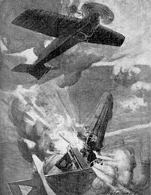 Reginald Warneford - A drawing of the downing of LZ37 by Rex Warneford