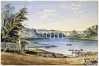 New York City water supply system - High Bridge in 1849, part of the Croton Aqueduct, the city's first water supply system