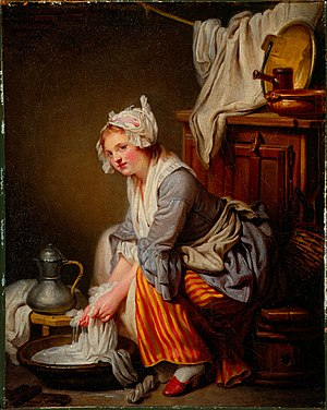 The Laundress (Greuze) - Autograph replica of the original, Fogg Museum