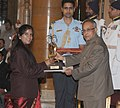The President, Shri Pranab Mukherjee presenting the Arjuna Award to Ms. Rajkumari Rathore for Shooting, at the National Sports & Adventure awards ceremony, at Rashtrapati Bhawan, in New Delhi on August 31, 2013.jpg