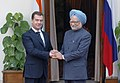 The Prime Minister, Dr. Manmohan Singh meeting the President of Russia, Mr. Dmitry A. Medvedev, in New Delhi on December 05, 2008.jpg