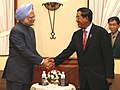 The Prime Minister, Dr. Manmohan Singh meeting the Prime Minister of Cambodia, Mr. Samdech Akka Moha Sena Padei Techo Hun Sen, on the sidelines of 7th India-ASEAN Summit, at Hua Hin, in Thailand, on October 24, 2009.jpg