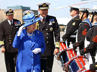 Sea Cadets (United Kingdom) - HM Queen Elizabeth II and Admiral Sir Jonathon Band in 2006 to celebrate the 250th Anniversary of the Marine Society and Sea Cadets