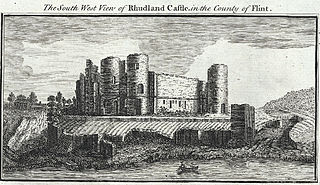 The South West View of Rhudland Castle, in the County of Flint