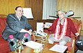 The Union Minister for Human Resource Development and Science Technology Dr. Murli Manohar Joshi meets the Scientific Adviser to the President of Pakistan Mr. Ataur Rehman in New Delhi on January 28, 2004.jpg