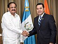 The Vice President, Shri M. Venkaiah Naidu calling on the President of the Republic of Guatemala, Mr. Jimmy Morales, at the Presidential House, in Guatemala on May 07, 2018.JPG