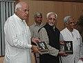 "The Vice President of India Shri M. Hamid Ansari releasing the book ""Tragic Hero of Kashmir-Sheikh Mahammad Abdullah"" authored by Shri Ajit Bhattacharya, in New Delhi on September 30, 2008.jpg"