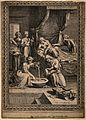 The birth of the Virgin Mary, Anna is being attended upon wh Wellcome V0014989.jpg