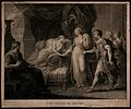 The death of Arcite; the dying Arcite lies on the bed holdin Wellcome V0041891.jpg