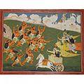 The demon Nakubha charges at Krishna, Pradyumna and Arjuna who unleash a volley of arrows at him.jpg