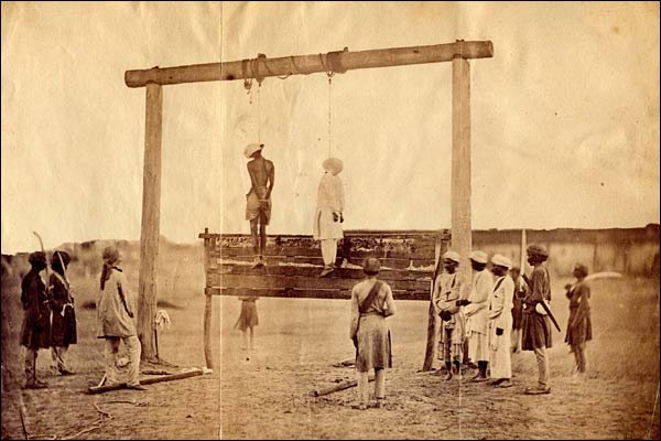 The hanging of two participants in the Indian Rebellion of 1857.