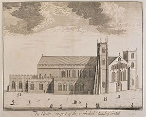 The north prospect of the Cathedral church of Landaff. Taken ao. 1713