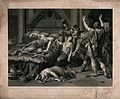 The suicide of Cleopatra; Roman soldiers discover Cleopatra Wellcome V0041569.jpg