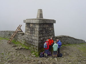 Slieve Donard - The Mourne Wall and the stone tower at the summit