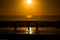Three children play in a lagoon formed from high tide on Morro Strand State Beach at sunset.jpg