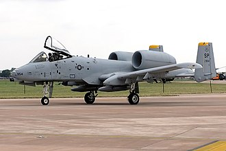 Aircraft spotting - The high engine position on this USAF A-10 Thunderbolt II is an easily observed distinguishing feature of this aircraft.