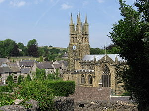 Tideswell - church and village rooftops - geograph.org.uk - 624016.jpg