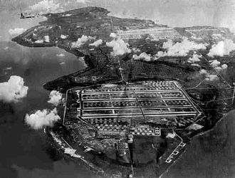 North Field (Tinian) - Tinian, Mariana Islands, 1945 after airfield construction, looking north to south. The massive North Field, 313th Bombardment Wing in front, West Field, 58th Bombardment Wing, in background. The 313th BW consisted of 4 B-29 Superfortress Bombardment Groups, later adding the 509th Composite Group, which conducted the Atomic Bomb Attacks against Japan in August 1945.