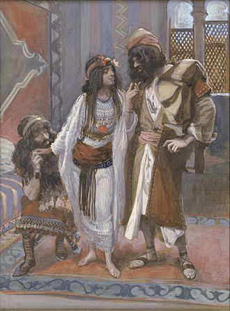 Rahab - Rahab (center) in James Tissot's The Harlot of Jericho and the Two Spies.