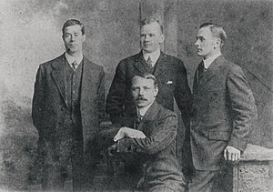 Harold Lowe - The four surviving officers of the Titanic. From left to right, Lowe, Charles Lightoller, Joseph Boxhall. Sitting: Herbert Pitman.