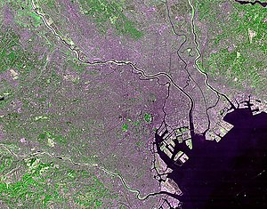 Satellite photo of Tokyo taken by NASA's Landsat 7