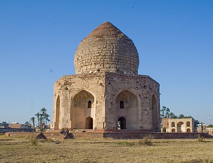 The Tomb of Asif Khan was one of several monuments plundered for its precious building materials during the Sikh period. Tomb of Asif Khan 01.jpg