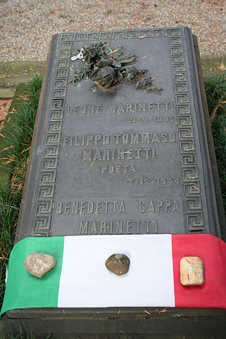 Filippo Tommaso Marinetti - Grave of Filippo Tommaso Marinetti and his wife Benedetta Cappa at Monumental Cemetery of Milan (Italy)