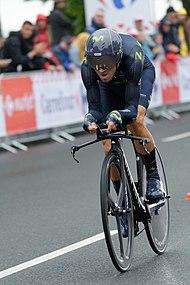 Valverde impegnato nella cronometro d apertura del Tour de France 2017. Una  nuova ... d312b433f22