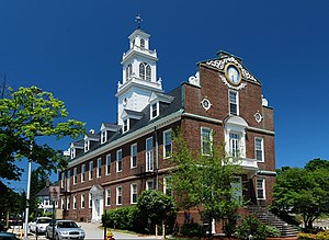 Weymouth, Massachusetts - Town Hall, built in 1928 as a replica of the Old State House, Boston