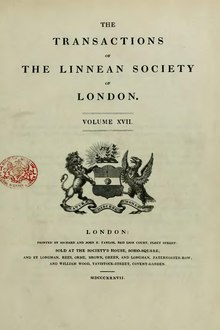 Transactions of the Linnean Society of London, Volume 17.djvu