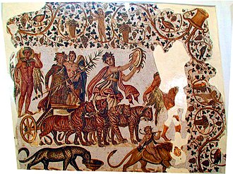 The Triumph of Bacchus - The Triumph of Bacchus, a Roman mosaic from Africa Proconsolaris, dated 3rd century AD, now in the Sousse Archaeological Museum, Tunisia
