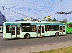 Trolleybus 2802 in the ul. Sovetskaya in Gomel 7 May 2014.jpg