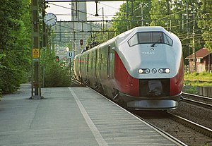 NSB Class 73 - B-series train at Trollhättan Station on the Norway/Vänern Line in Sweden