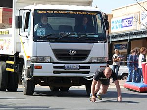 Strongmen event: the Truck pull (no rope). UD8...