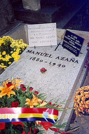 Manuel Azaña - Manuel Azaña's grave in Montauban, France.