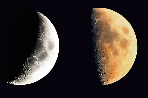 During the lunar phases, only portions of the Moon can be observed from Earth Two Lunar Phases.jpg