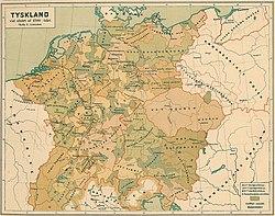 c3516963eaf2 Detaljerad historisk karta över Tyskland i slutet av 1200-talet.
