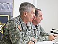 U.S. Army Europe Commander Lt. Gen. Campbell and Command Sgt. Maj. David S. Davenport Sr., senior enlisted adviser, answer questions from German media during the commander's media roundtable and luncheon at the 130325-A-AD638-001.jpg