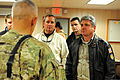 U.S. Army Maj. Gen. Jim Huggins, left, commander of the 82nd Airborne Division and Regional Command-South (RC-S), gives a quick briefing to Rep. Michael McCaul, right, of the 10th District of Texas; Rep. Jeff 111106-A-EK646-006.jpg