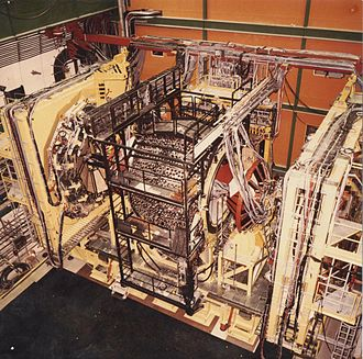 UA2 experiment - The UA2 detector shown in open position at the CERN Proton-Antiproton Collider in 1982