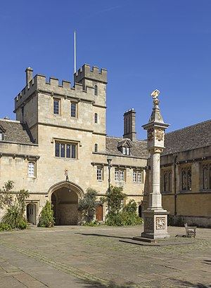 Pelican sundial in main quad, Corpus Christi College, Oxford