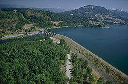 Dexter Lake and Dam on the Willamette River at Dexter, Oregon