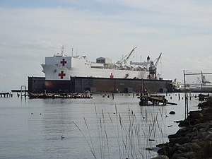 Pier 70, San Francisco - USNS Mercy at the Pier 70 BAE dry dock in 2010.