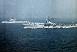 USS Independence (CVA-62) and HMS Ark Royal (R09) 1971.jpg