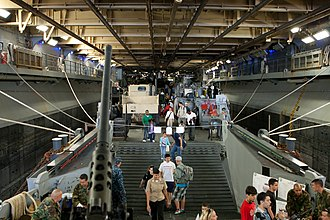 USS Iwo Jima (LHD-7) - Looking toward the bow of the interior of the ship.