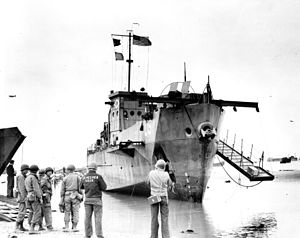 USS LCI(L)-93 Abandoned on Omaha Beach1944.jpg